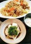 夕飯(7/3)レンジで蒸し鶏 葱ソース