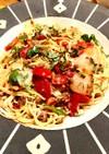 牛肉とトマトのモッツァレラパスタ