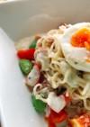 乾麺と缶詰で一皿完結シーザーサラダ麺
