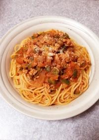 トマトジュースでミートソーススパゲッティ