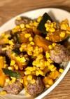 ✿かぼちゃと挽肉のコーン味噌煮