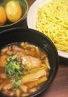 焼豚漬けダレで自家製魚介豚骨スープつけ麺