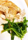 鶏むね肉のチーズソテーと空芯菜の炒め物