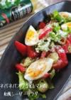オクラとトマトの和風シーザーサラダ