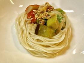 茄子ししとう山芋のトロトロ冷素麺➕ナッツ