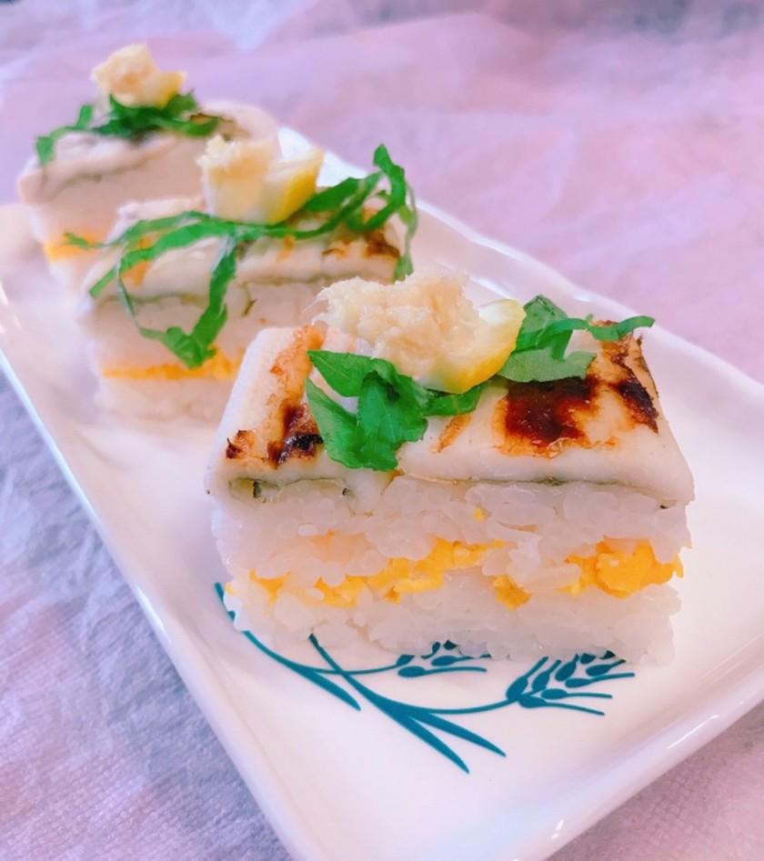 焼き穴子の押し寿司  生姜醤油で!