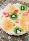 透きとおるフルーツ♪水玉レアチーズケーキ