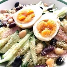 夏のランチに♪煮卵茹で豆の冷やし和え麺