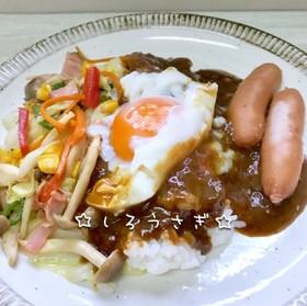 1人ランチに♬野菜炒めとカレーのプレート