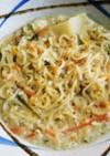 塩っぱく仕上がった味噌汁で担々麺もどき。