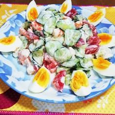 胡瓜とトマトとエビのサラダ