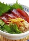 夏野菜とまぐろの中華風漬けどんぶり