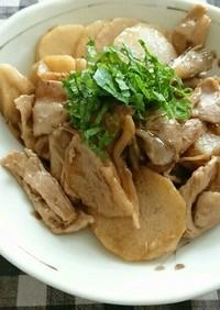 長芋と豚バラ肉と舞茸の炒め物