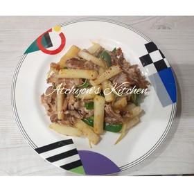 簡単おかずのもう一品豚肉と長芋の和風炒め