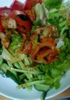 夏野菜のピリ辛ラーメンサラダ♪