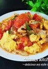 10分で簡単♪豚バラとトマトと卵の炒め物