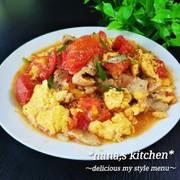 10分で簡単♪豚バラとトマトと卵の炒め物の写真