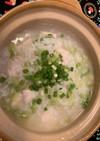 鶏むね肉とレタスの中華粥
