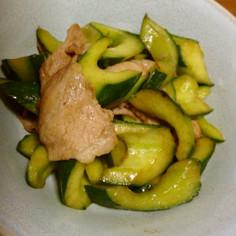 きゅうりと豚肉の塩コショウ炒め