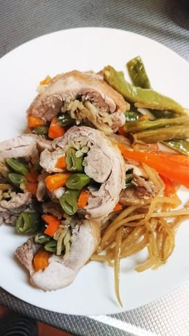 鶏の野菜巻き巻き