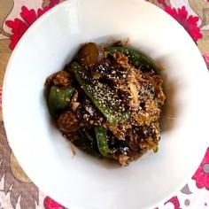 夏野菜とキヌアの味噌炒め