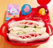 簡単ハムきゅうりサンドイッチ弁当の写真