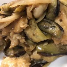 鶏むね肉とナスの酒粕醤油麹炒め