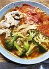 電子レンジ一皿調理トマト鶏肉スープパスタ