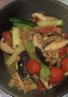 大豆挽肉とズッキーニとトマトの沙茶醤炒め