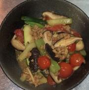 大豆挽肉とズッキーニとトマトの沙茶醤炒めの写真