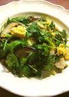 三つ葉と椎茸と卵の炒めもの