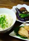 そうめんと野菜の揚げ浸し➕チキン南蛮漬け