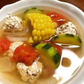 鶏団子入り夏野菜のあっさりスープ