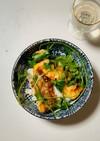 簡単!タラの中華風揚げ物と香菜の丼♪