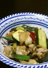 鶏もも肉とズッキーニの花椒・醤油炒め
