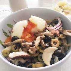 ダイエットに!きのことオリーブマリネ素麺