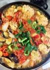 枝豆豆腐豚こま団子夏野菜大葉トマト味噌煮