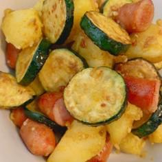 ズッキーニとジャガイモの塩麹カレー炒め