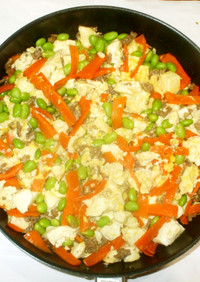 ひき肉炒り豆腐♪簡単水切りなし