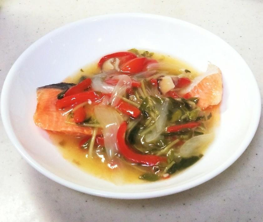 蒸し魚の塩野菜あんかけ