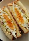 魚肉ソーセージ・キャベツ・ゆで卵サンド