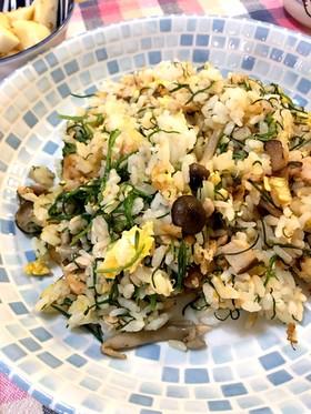 おかひじきと鮭の和風炒飯