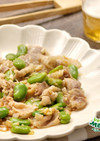 そら豆と豚肉のピリ辛ラー油炒め