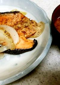 ♥鮭のバター焼き&茄子ミョウガ味噌汁♥
