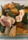 かたまり豚とかぼちゃオクラの炊き合わせ