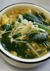 にらとえのきの中華たまごスープ
