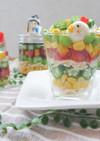 蒸し鶏と夏野菜の彩り豊かなミックスパフェ