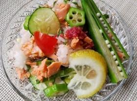 たっぷり夏野菜と鮭のサラダ寿司