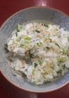 ダイコン葉の彩り菜飯
