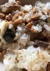 納豆とサバの立田揚げのご飯(リメイク)